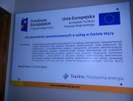 Tablica informacyjna w Zakładzie Gospodarki Komunalnej w Wyrach